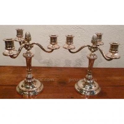 Paire De Chandeliers En Bronze Argenté XIX°