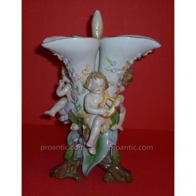 Triple Vase En Porcelaine Samson XIX°