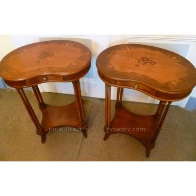 Pair Of Table Kidney Louis XVI Style