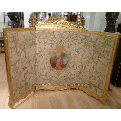 Screen Wood Gilded Tapestry And XIX