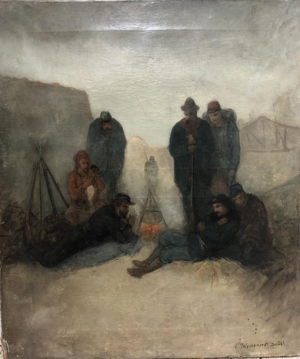 Ecole Française Du 19ème Siècle, Zouave Au Feu De Camp. Militaria, Guerre De Crimée
