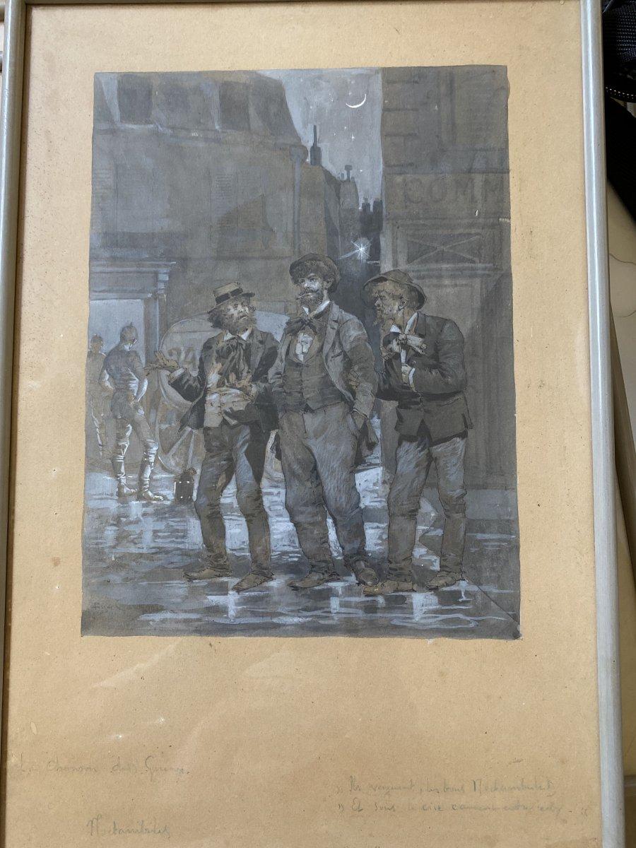 Eugène Courboin (1851-1922) - La Chanson Des Gueux, Noctambules - 1881