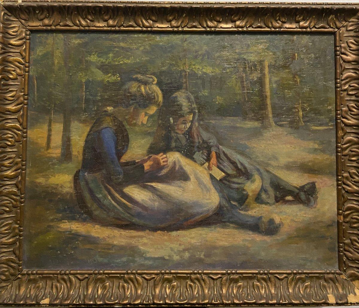 J. Messager ? Ecole Française Vers 1910, Deux Fillettes
