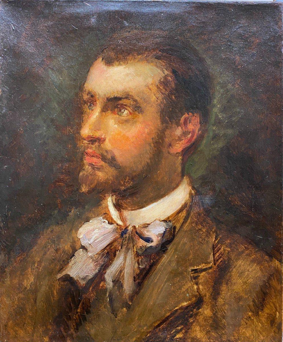 Ecole Française Impressionniste Vers 1865-1870 - Portrait d'Homme Ou d'Artiste