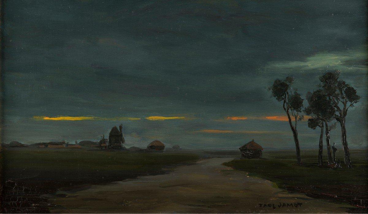 Paul Jamot (1863 - 1939) - Crépuscule Dans Les Flandres, Circa 1900-photo-2