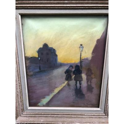 Exit From School, French School Early Twentieth Signed