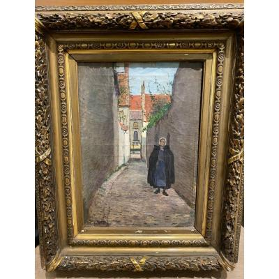 N. Van Den Velde - Belgian Or Dutch School - Old Woman In The Lane, Circa 1890-1900