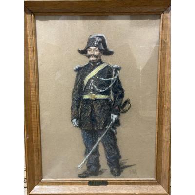Henri Brispot (1846-1928) - Pastel Le Gendarme