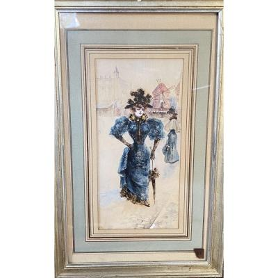 French School, La Parisienne Au Moulin Rouge, Watercolor Circa 1900 - Monogrammed