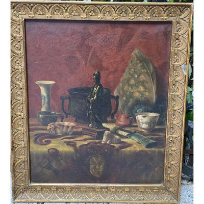 French School 1873 - Japanese Still Life - Signed To Decipher