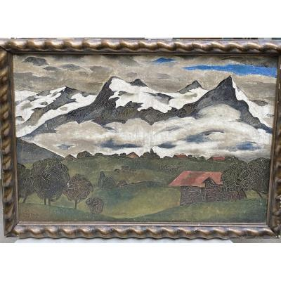 Lodew Bosscke (1900-1980) -ecole Belge Paysage De Montagne Art Déco, 1926