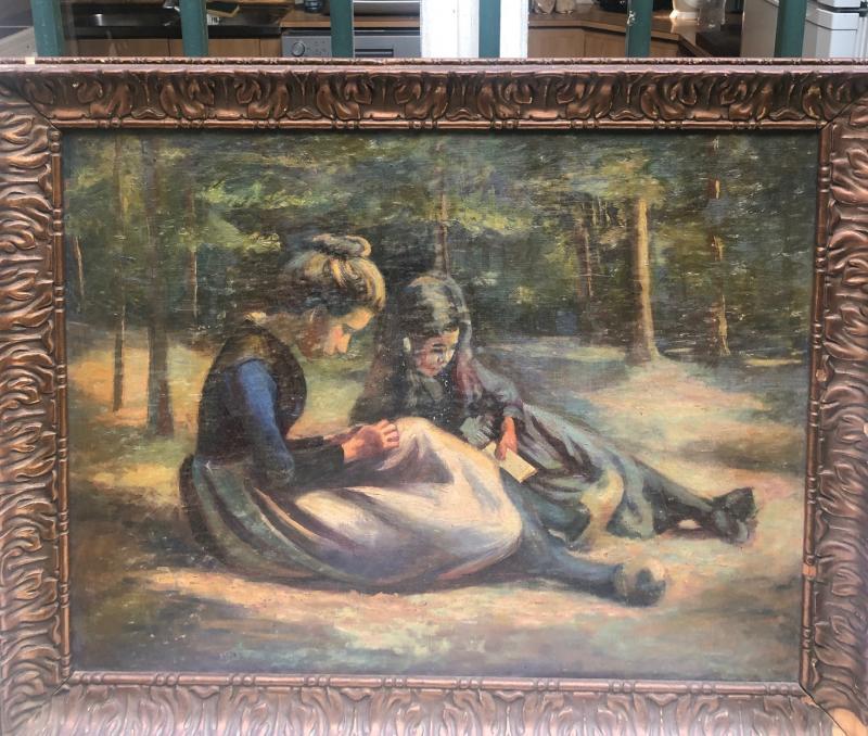 J. Messager ? Ecole Française Vers 1910, Deux Fillettes -photo-2