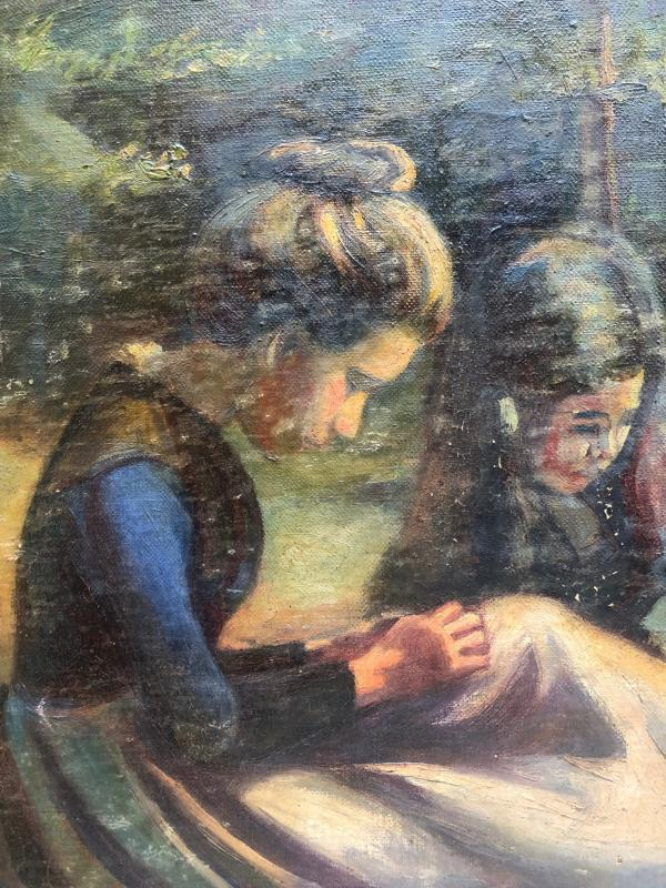 J. Messager ? Ecole Française Vers 1910, Deux Fillettes -photo-3