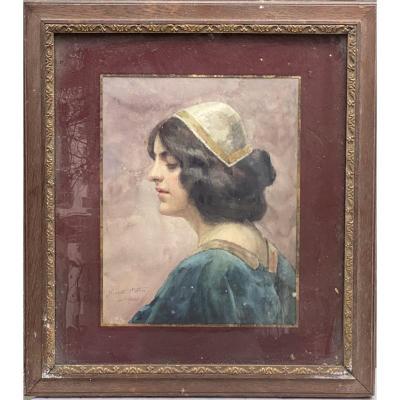 Juliette Ottin (1877-1944) - Portrait De Jeune Femme Médiévale, 1903 - Art Nouveau