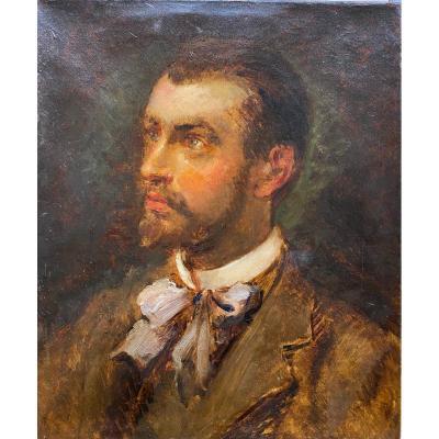 French Impressionist School Circa 1865-1870 - Portrait Of A Man Or An Artist