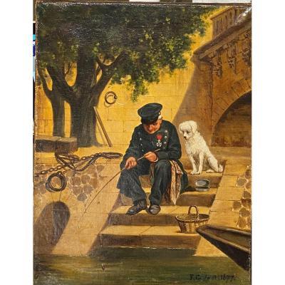 Florimond Guénot (1825 - ?) - Pêche à La Ligne Sur Les Quais De Paris, 1877
