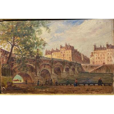 Eugène Jacquet (actif Au Début Du 20ème Siècle) - Paris Le Pont Neuf, Circa 1900