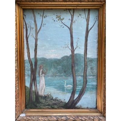 Symbolist School End XIXth Century - Paul Jean - Vestal And White Swan