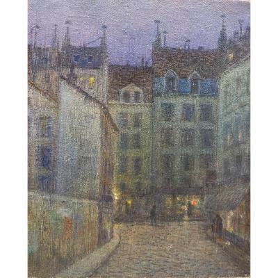 Gabriel Biessy (1854-1935) - Parisian Alley At Night, Circa 1912-1913
