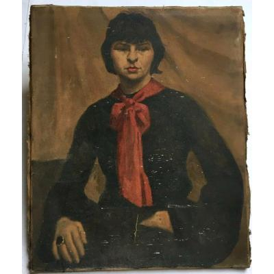 French School Circa 1930-1940 -tomboy With Red Scarf