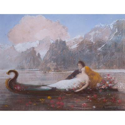 Albert Trachsel (1863-1929) - Les Amants Du Lac