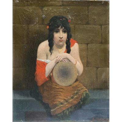 E. Chabot (xix-xxème) - La Bohémienne Au Tambourin, 1913