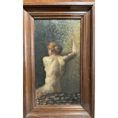 French School Around 1890 - Study Of A Naked Woman From The Back