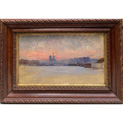 Ecole Française Impressionniste - La Seine Et Notre Dame De Paris, Circa 1890