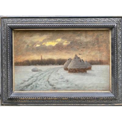 Edouard Victor Durand (actif Au XIXème Siècle) - Le Vol Des Corbeaux, Circa 1890