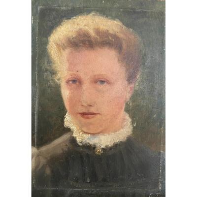 Ecole Impressionniste - Jeune Femme Blonde En Buste Vers 1900 - Monogrammé