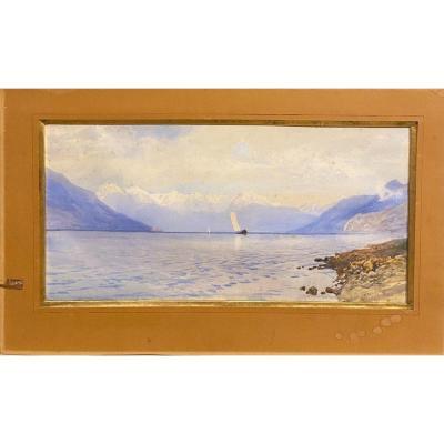 Ainslie H Bean ( Circa 1850-1900) - Paysage Lacustre Au Voilier, 1901