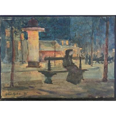 Arthur Marie Du Passage (1838-1909) -  Un Soir à Paris, Banc Davioud Et Colonne Morris, 1895
