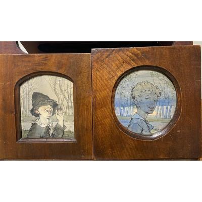 Travail Art Nouveau - Deux Portraits d'Enfants - Signatures Indéchiffrables