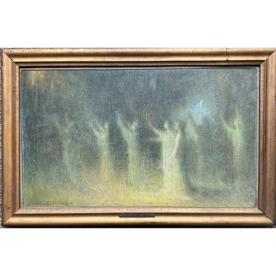 Joseph Castaing (1860-1918) - Procession païenne, Circa 1890 - Pastel Symboliste