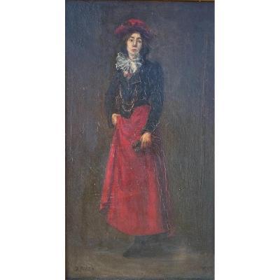 Jean Bidon (xix-xx) - Portrait De Jeune Femme, 1902