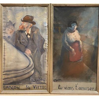 Raoul Guérin Dit Toto Guérin (1890-1984) Paire De Toiles Prostituée Et Ivrogne