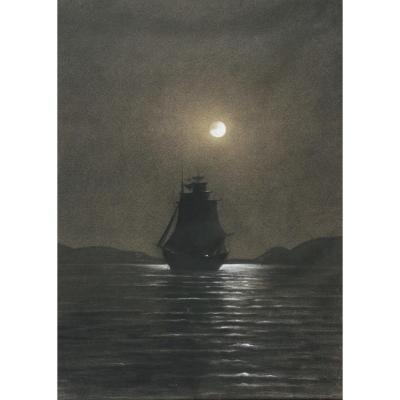 French School Of The End Of The 19th Century - Sailboat In Moonlight, Night Effect