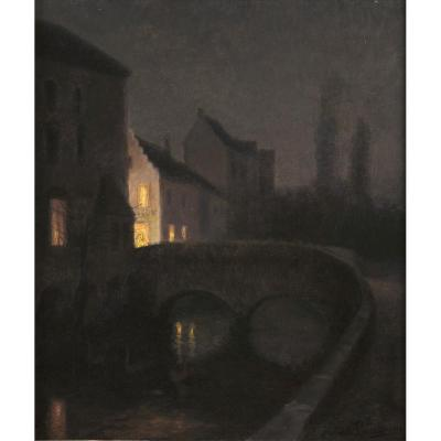 Edith Vaucamps (circa 1860-circa 1930) Bruges La Nuit, Circa 1900