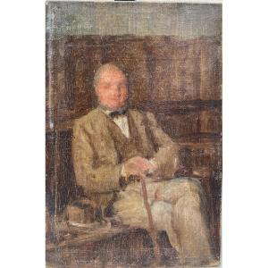 English Impressionist School Circa 1890 - Portrait Of Man With Hat And Cane