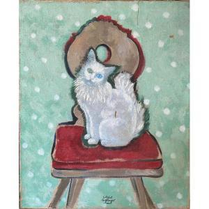Gabriel Englinger (1898-1983) - Le Chat Aux Yeux Vairons, Circa 1940