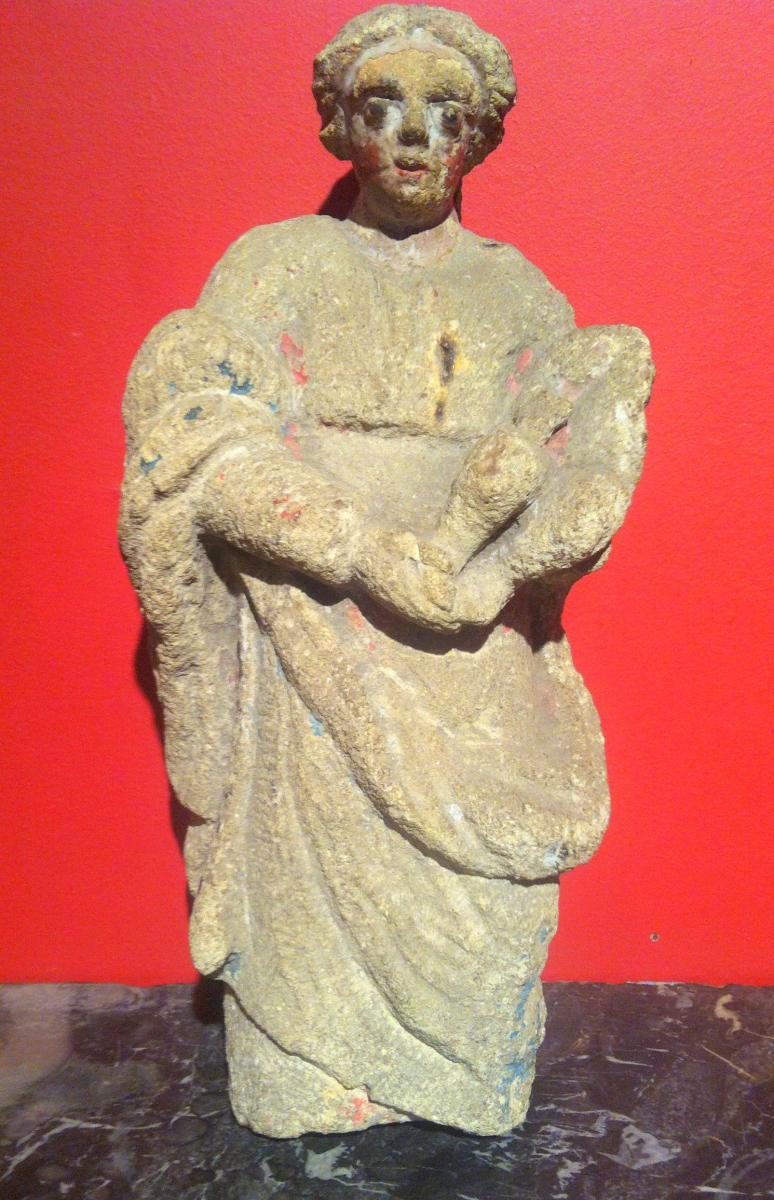 Vierge à l'Enfant en Pierre Sculptée.