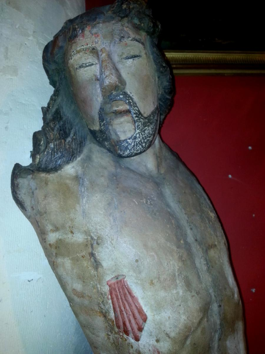 Grand Christ En Bois Polychrome Bourgogne ? XVI ème Siecle