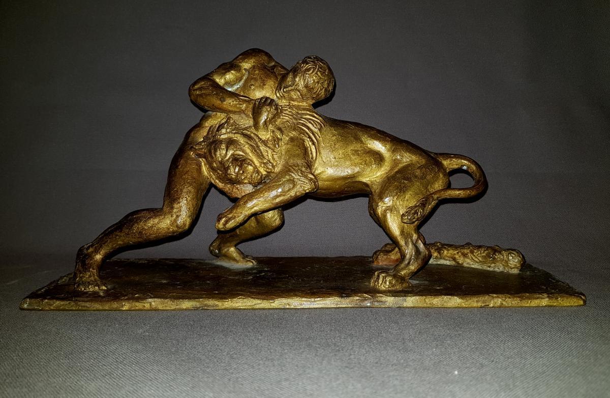 Bronze By Sylvestre Héraclès Fighter Le Lion De Némée.