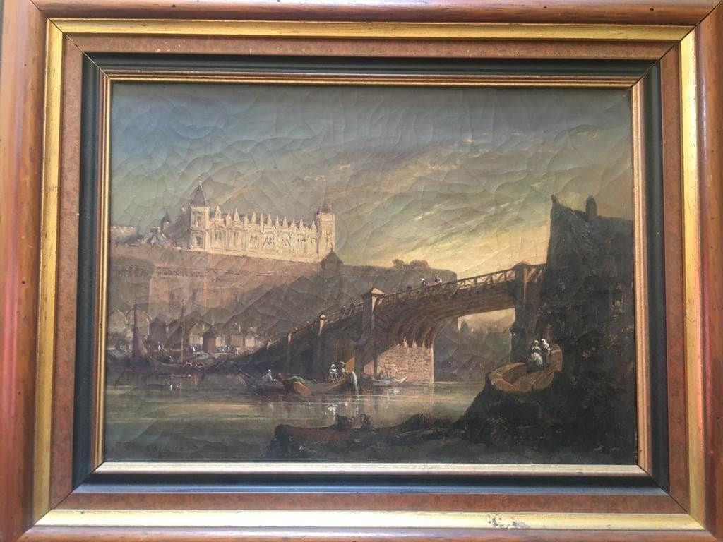 Charles Laloue - Landscape At The Bridge