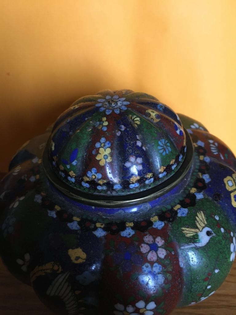 Paire de vases en émail cloisonné -photo-2