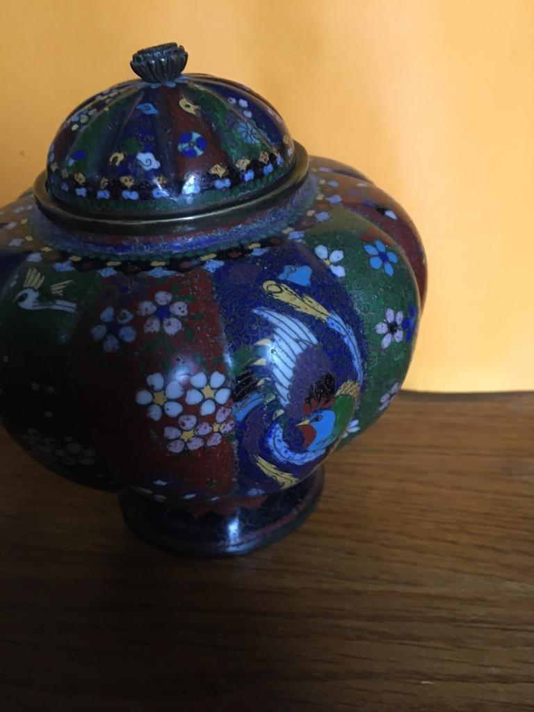 Paire de vases en émail cloisonné -photo-1