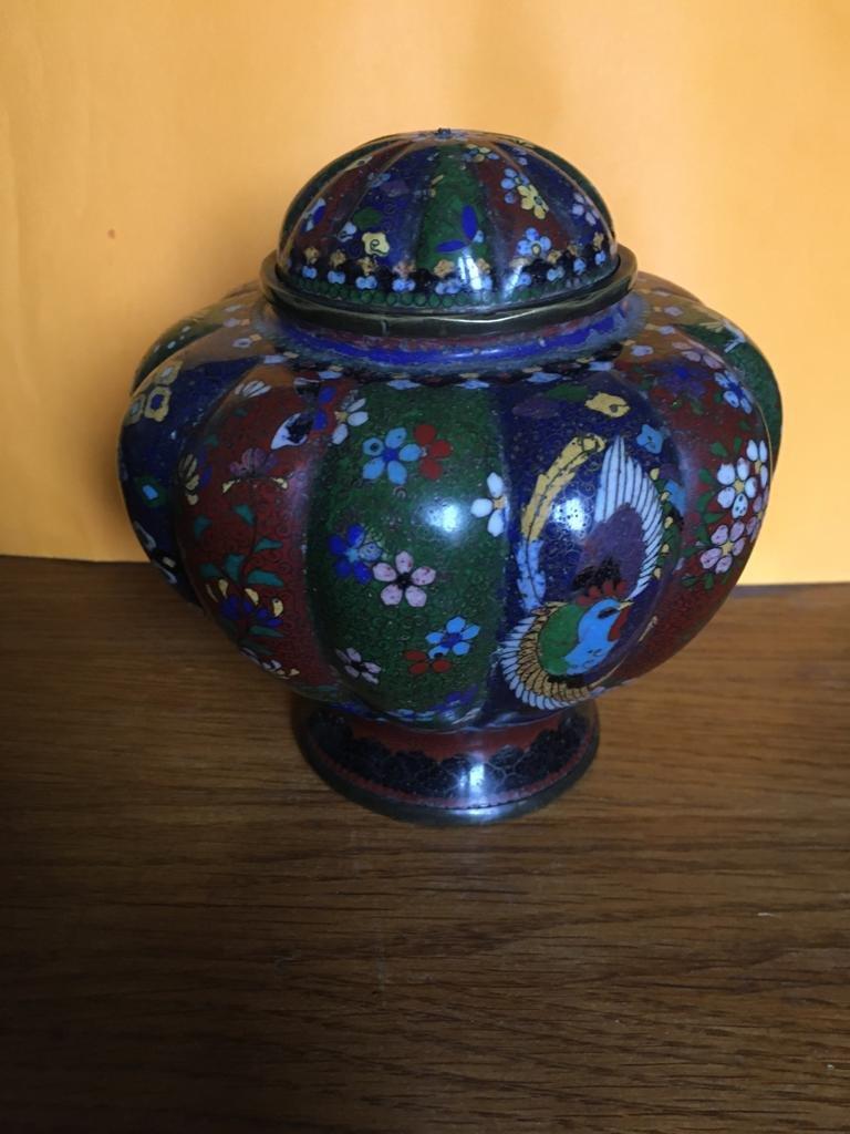 Paire de vases en émail cloisonné -photo-5