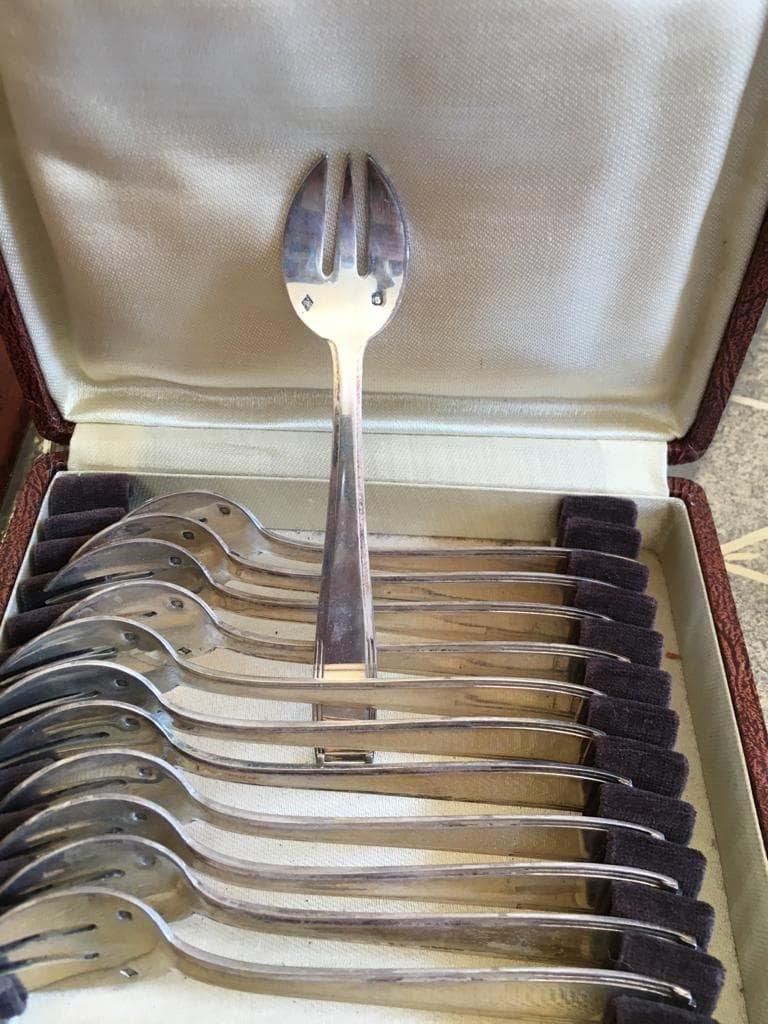 Twelve Silver Cake Forks - 1930