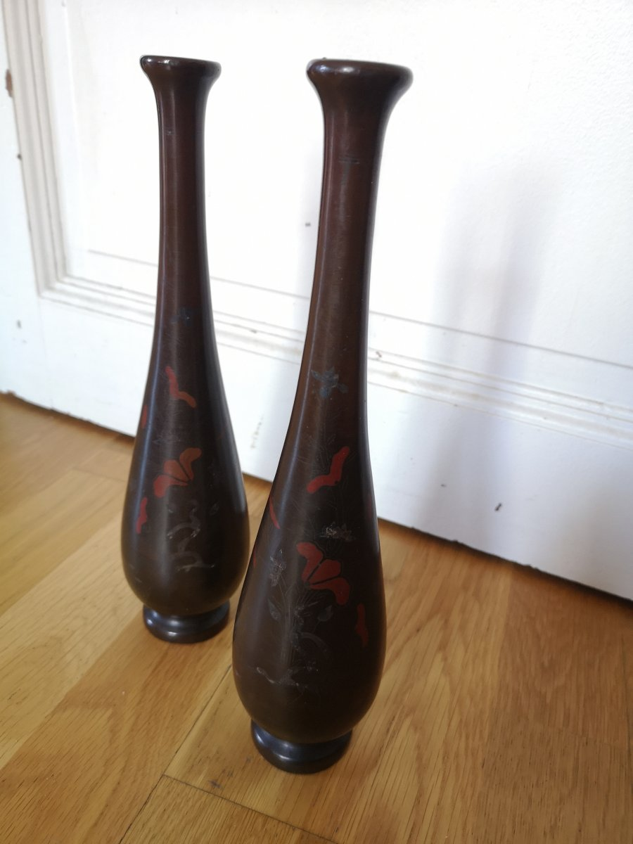 A Pair Of Bronze Vases, Far East