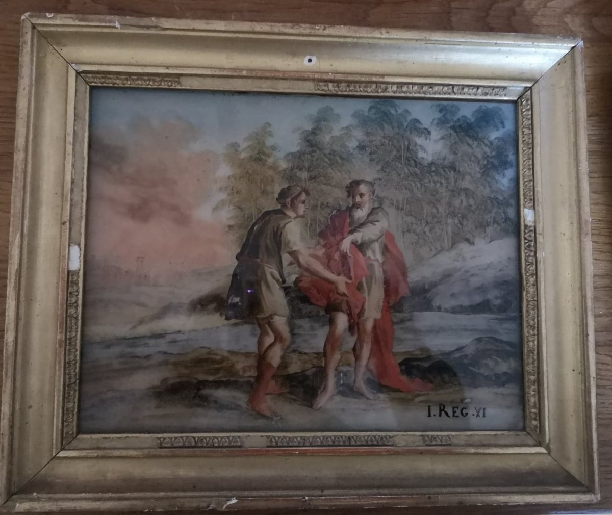 Painting Fixed Under Glass - 2 Characters